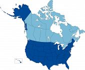 stock photo of nebraska  - Vector map of United States and Canada broken down by 50 states and Canadian provinces - JPG