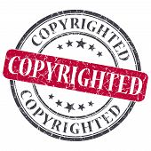image of plagiarism  - copyrighted red round grungy stamp isolated on white background - JPG