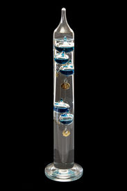 picture of galileo-thermometer  - Galileo thermometer - isolated on black background