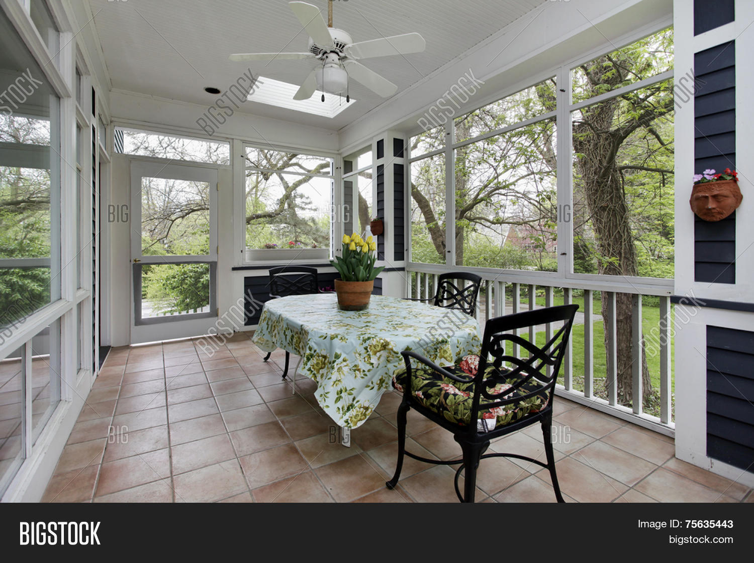 Porch in suburban home with tile floor stock photo stock for Suburban floors