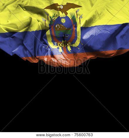 Ecuador waving flag on black background