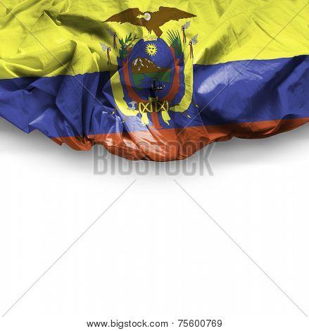Ecuador waving flag on white background