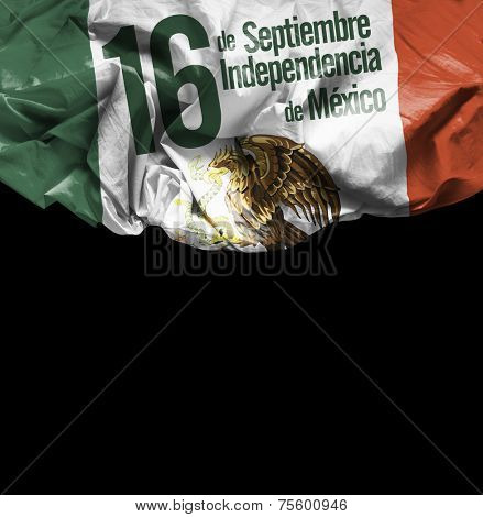 September, 16 Independence of Mexico - 16 de Septiembre, Independencia do Mexico on black background