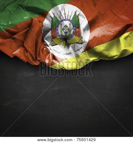 Rio Grande do Sul, Brazil waving flag on blackboard