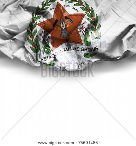 Minas Gerais Coat of Arms waving flag on white background