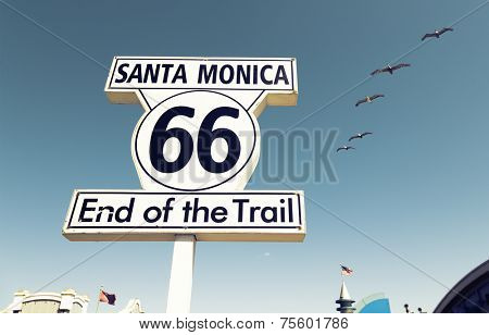 Historic Route 66 sign at Santa Monica California