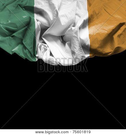 Ireland waving flag on black background