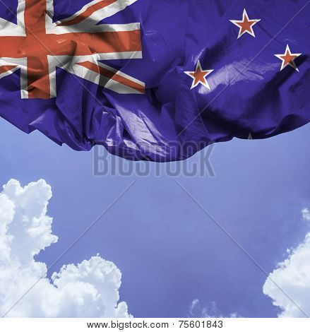 New Zealand waving flag on a beautiful day