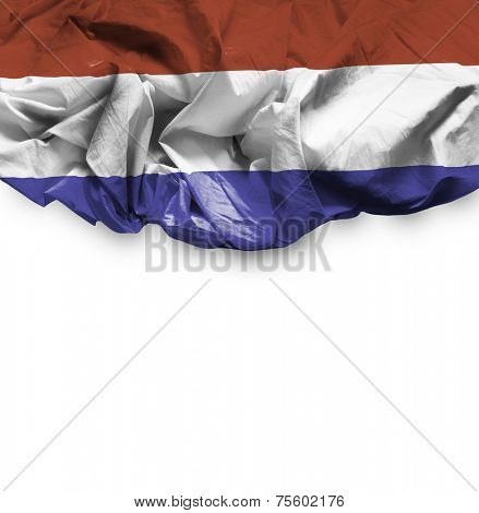 Netherlands waving flag on white background