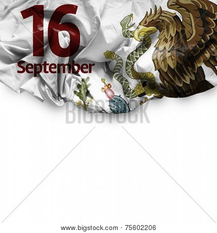 September, 16 Independence of Mexico on white background