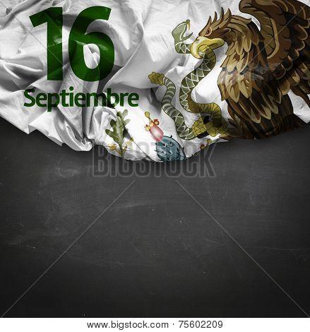 September, 16 Independence of Mexico - 16 de Septiembre, Independencia de Mexico on blackboard background