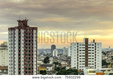Aerial view of some buildings and houses in Sao Paulo, Brazil
