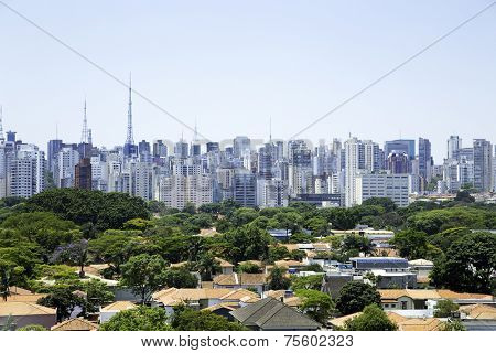Aerial view of a rich area in Sao Paulo, Brazil