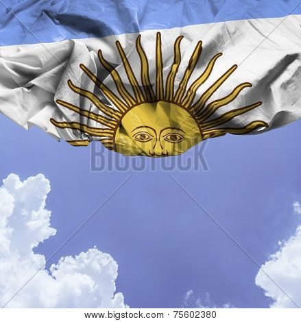 Argentina waving flag on a beautiful day