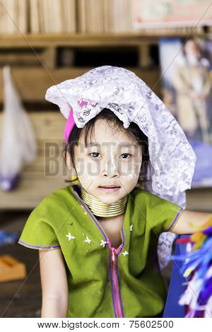 CHIANG MAI, THAILAND - CIRCA MAY 2014: Unidentified Long Neck child at Karen Long Neck hill tribe village in Chiang Mai, Thailand.