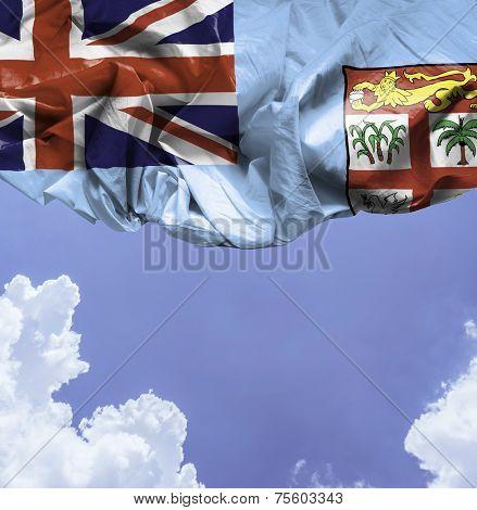 Fiji waving flag on a beautiful day
