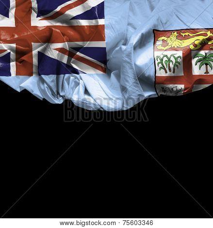 Fiji waving flag on black background