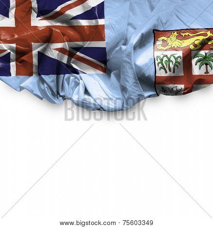 Fiji waving flag on white background