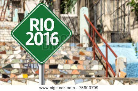 Rio 2016 green sign in Rio de Janeiro, Brazil