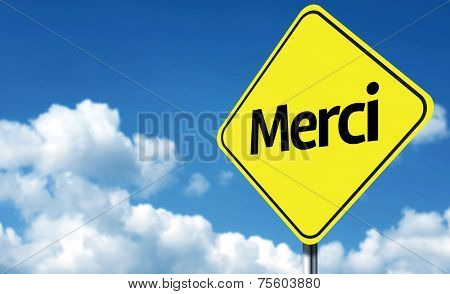 Thank You (French: Merci) creative Sign