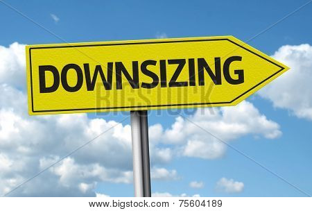 Downsizing creative sign on the clouds background