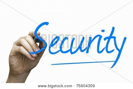 Security hand writing with a blue mark on a transparent board