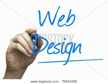 Web Design writing hand with a blue mark on a transparent board