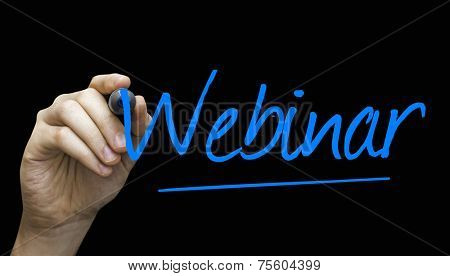 Webinar hand writing with a blue mark on a transparent board
