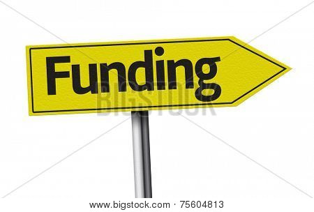 Funding creative sign on white background