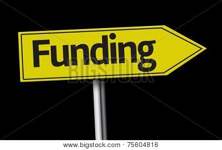 Funding creative sign on black background