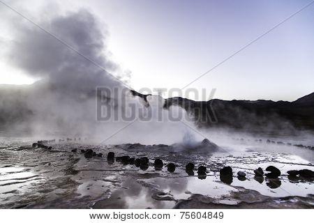 Geysers in Atacama Desert, Chile