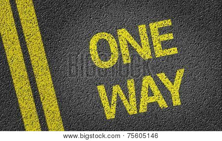 One Way written on the road
