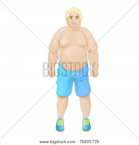fat overweight sport man wear blue shorts