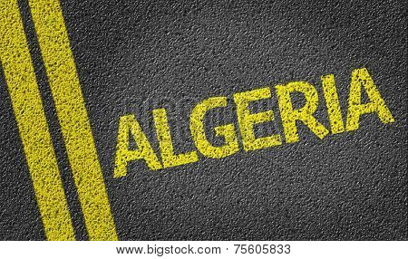 Algeria written on the road
