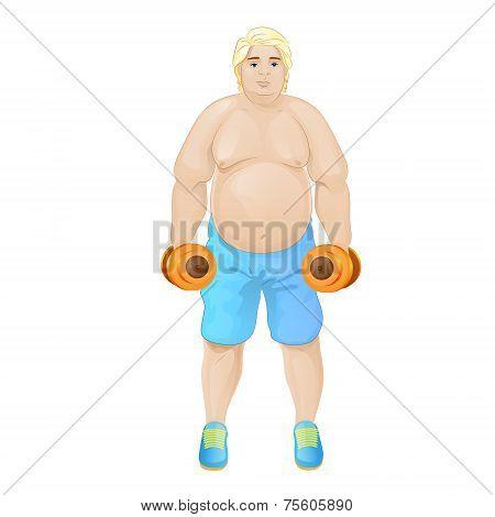 Fat overweight sport man hold dumbbells