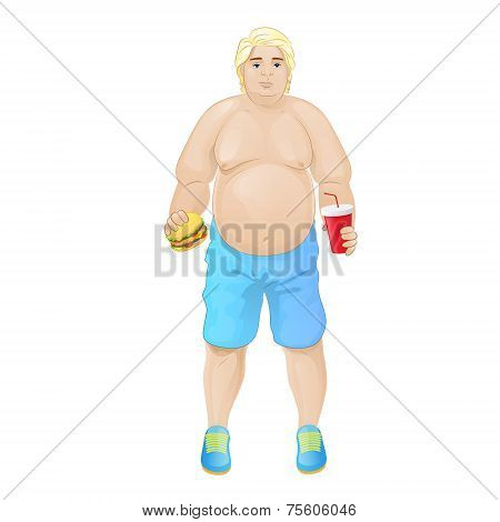 Fat overweight man eat burger, junk fast food and drink, concept of unhealthy diet