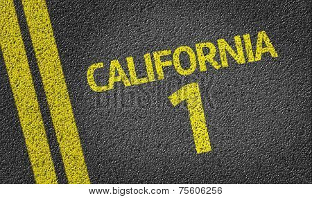 California 1 written on the road