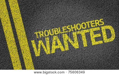 Troubleshooters Wanted written on the road
