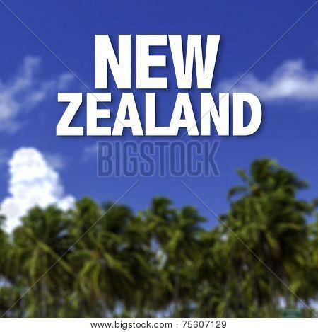 New Zealand written on a beautiful beach background
