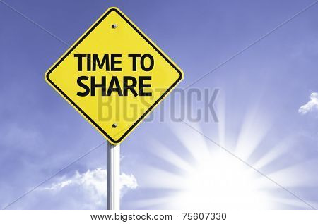 Time to Share road sign with sun background