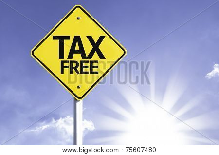 Tax Free road sign with sun background