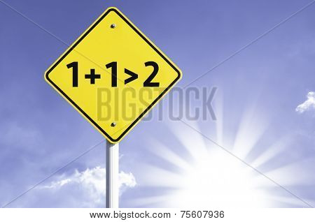 The whole is greater than the sum of its parts road sign with sun background