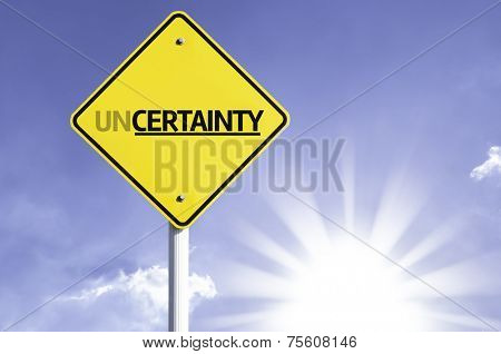 Uncertainty road sign with sun background