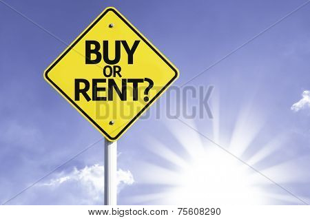 Buy or Rent? road sign with sun background