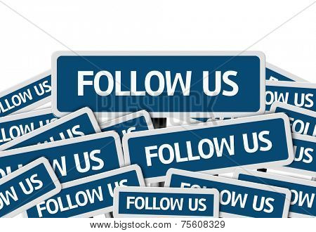 Follow Us written on multiple blue road sign