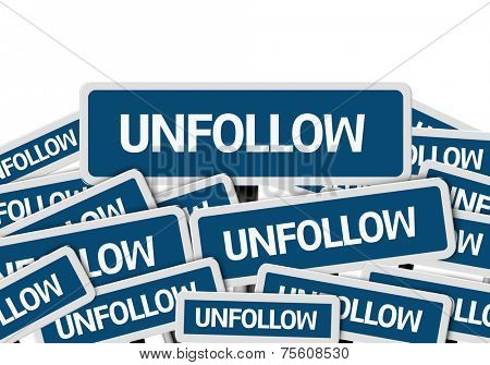 Unfollow written on multiple blue road sign