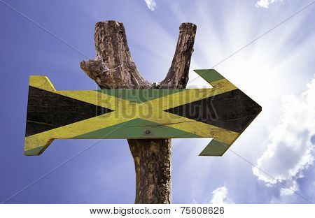 Jamaica wooden sign on a beautiful day