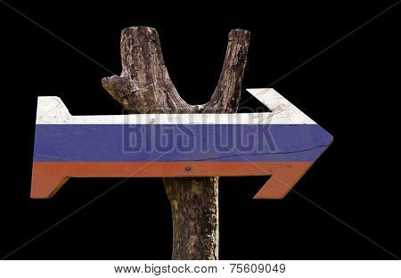 Russia wooden sign isolated on black background