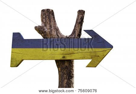 Ukraine wooden sign isolated on white background