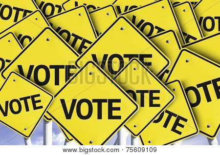 Vote written on multiple road sign